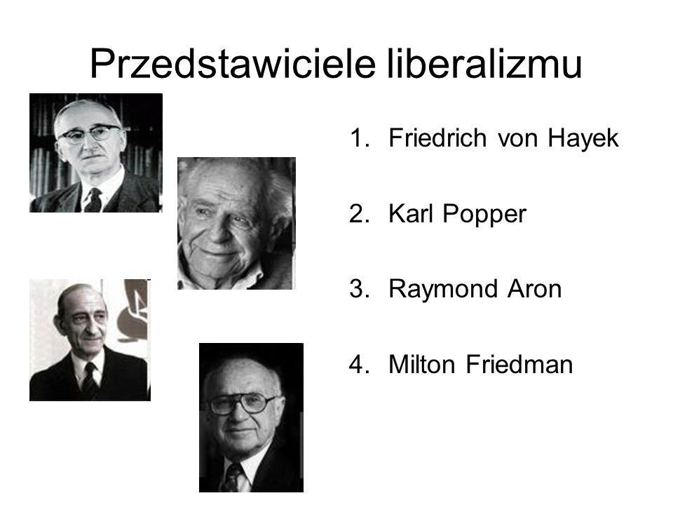 Przedstawiciele liberalizmu 1.Friedrich von Hayek 2.Karl Popper 3.Raymond Aron 4.Milton Friedman