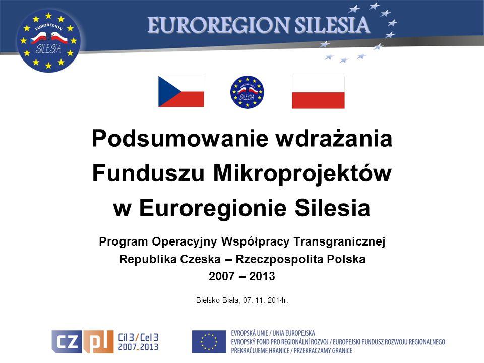 Podsumowanie wdrażania Funduszu Mikroprojektów w Euroregionie Silesia Program Operacyjny Współpracy Transgranicznej Republika Czeska – Rzeczpospolita Polska 2007 – 2013 Bielsko-Biała, 07.