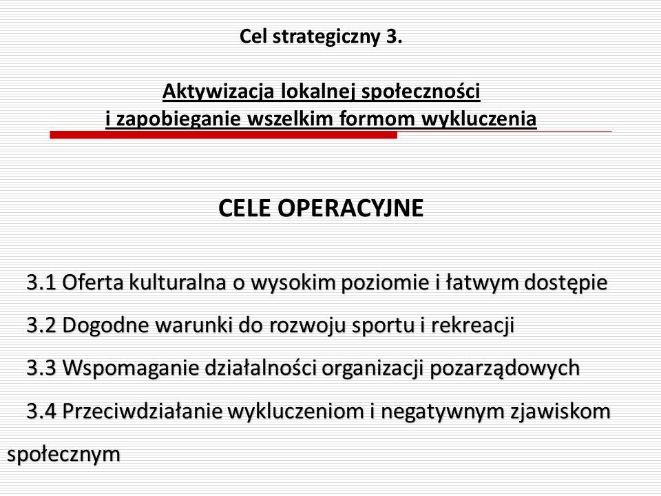 Cel strategiczny 3. Aktywizacja lokalnej społeczności i zapobieganie wszelkim formom wykluczenia CELE OPERACYJNE 3.1 Oferta kulturalna o wysokim pozio