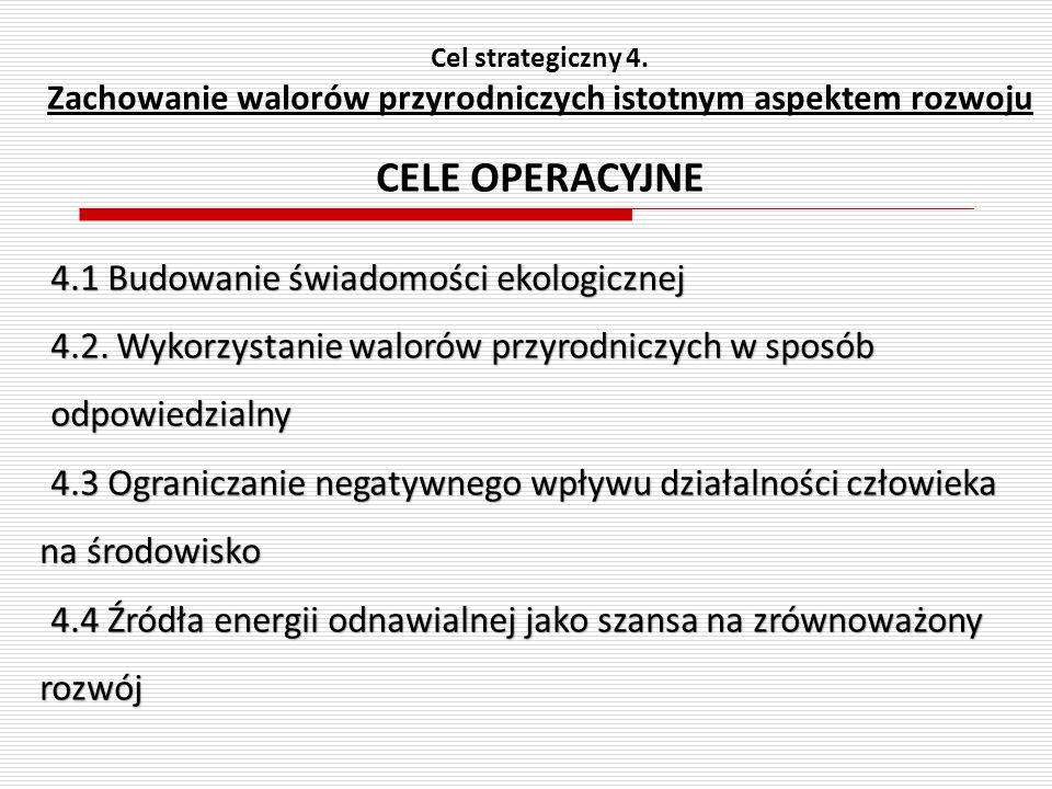 Cel strategiczny 4. Zachowanie walorów przyrodniczych istotnym aspektem rozwoju CELE OPERACYJNE 4.1 Budowanie świadomości ekologicznej 4.2. Wykorzysta