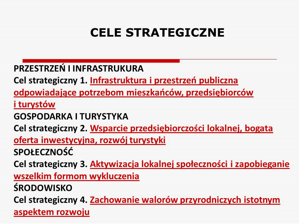 CELE STRATEGICZNE PRZESTRZEŃ I INFRASTRUKURA Cel strategiczny 1. Infrastruktura i przestrzeń publiczna odpowiadające potrzebom mieszkańców, przedsiębi