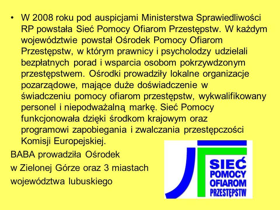 W 2008 roku pod auspicjami Ministerstwa Sprawiedliwości RP powstała Sieć Pomocy Ofiarom Przestępstw.
