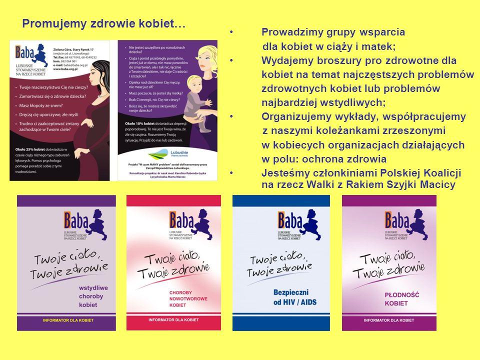 Prowadzimy grupy wsparcia dla kobiet w ciąży i matek; Wydajemy broszury pro zdrowotne dla kobiet na temat najczęstszych problemów zdrowotnych kobiet lub problemów najbardziej wstydliwych; Organizujemy wykłady, współpracujemy z naszymi koleżankami zrzeszonymi w kobiecych organizacjach działających w polu: ochrona zdrowia Jesteśmy członkiniami Polskiej Koalicji na rzecz Walki z Rakiem Szyjki Macicy Promujemy zdrowie kobiet…