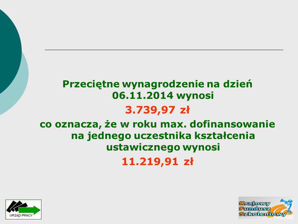 Przeciętne wynagrodzenie na dzień 06.11.2014 wynosi 3.739,97 zł co oznacza, że w roku max. dofinansowanie na jednego uczestnika kształcenia ustawiczne