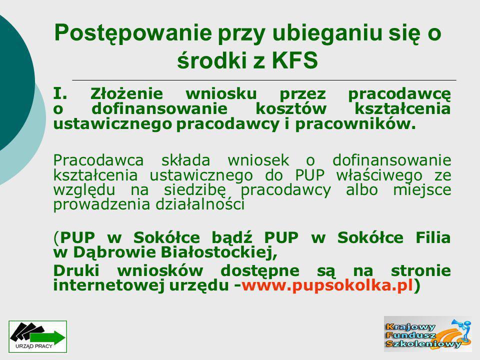Postępowanie przy ubieganiu się o środki z KFS I. Złożenie wniosku przez pracodawcę o dofinansowanie kosztów kształcenia ustawicznego pracodawcy i pra