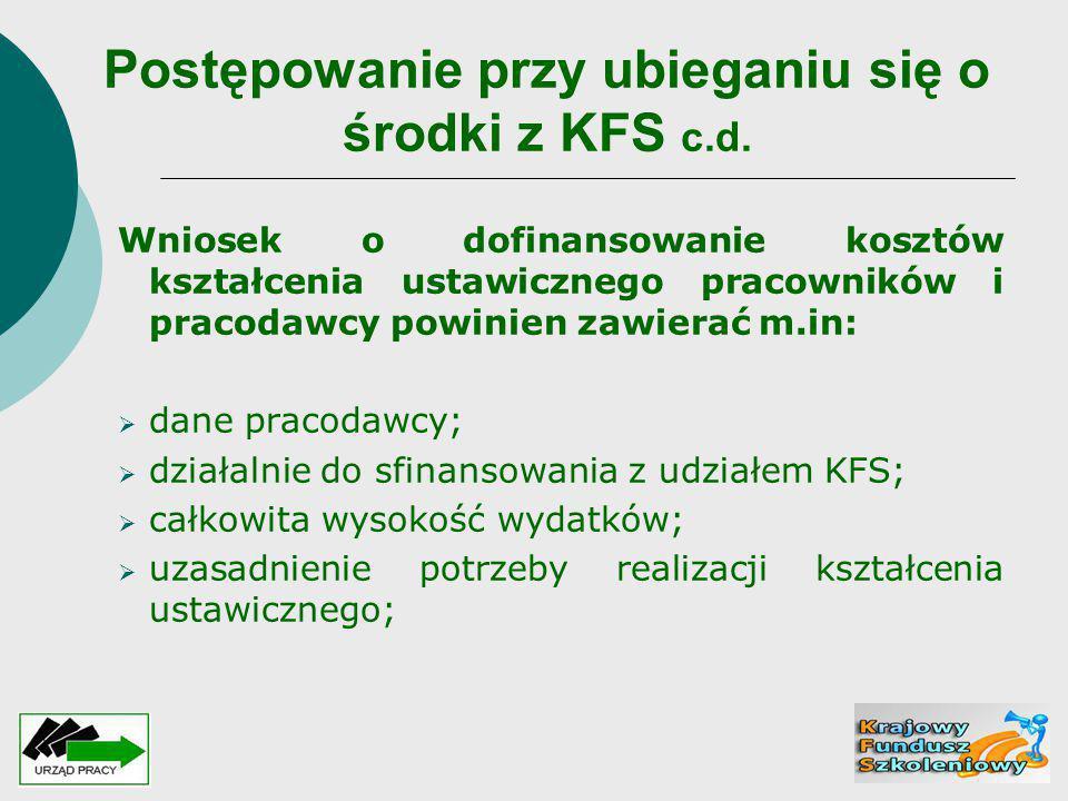 Postępowanie przy ubieganiu się o środki z KFS c.d. Wniosek o dofinansowanie kosztów kształcenia ustawicznego pracowników i pracodawcy powinien zawier