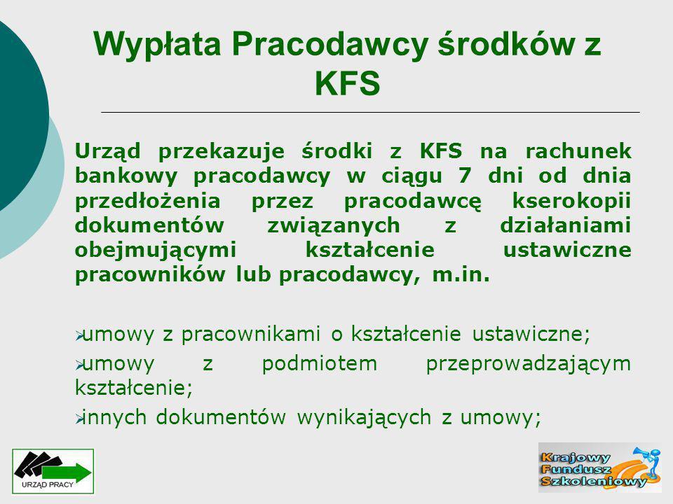 Wypłata Pracodawcy środków z KFS Urząd przekazuje środki z KFS na rachunek bankowy pracodawcy w ciągu 7 dni od dnia przedłożenia przez pracodawcę kser