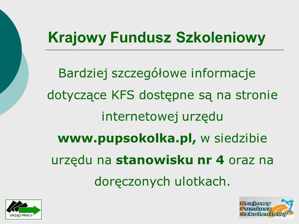 Krajowy Fundusz Szkoleniowy Bardziej szczegółowe informacje dotyczące KFS dostępne są na stronie internetowej urzędu www.pupsokolka.pl, w siedzibie ur