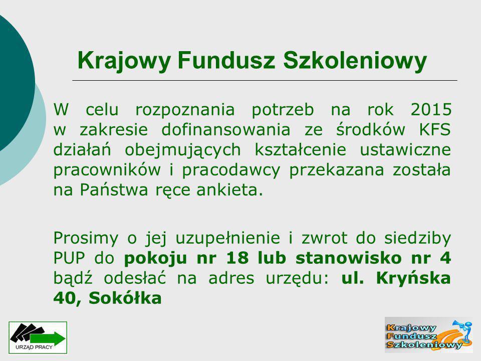 Krajowy Fundusz Szkoleniowy W celu rozpoznania potrzeb na rok 2015 w zakresie dofinansowania ze środków KFS działań obejmujących kształcenie ustawiczn