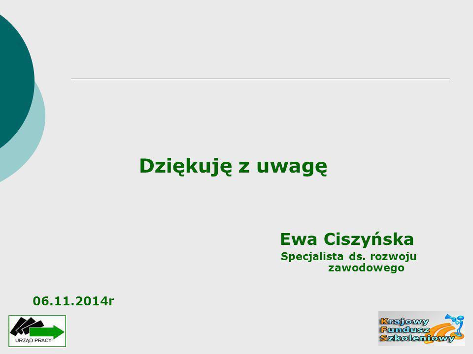 Dziękuję z uwagę Ewa Ciszyńska Specjalista ds. rozwoju zawodowego 06.11.2014r