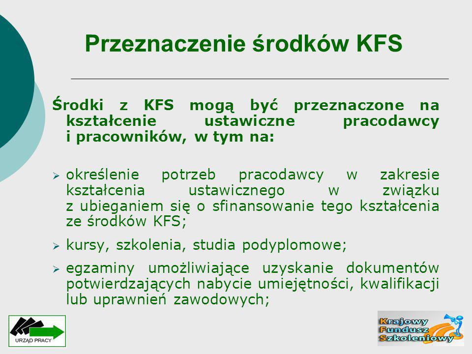 Przeznaczenie środków KFS Środki z KFS mogą być przeznaczone na kształcenie ustawiczne pracodawcy i pracowników, w tym na:  określenie potrzeb pracod