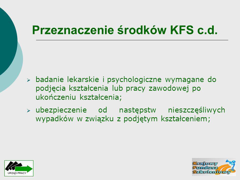 Przeznaczenie środków KFS c.d.  badanie lekarskie i psychologiczne wymagane do podjęcia kształcenia lub pracy zawodowej po ukończeniu kształcenia; 