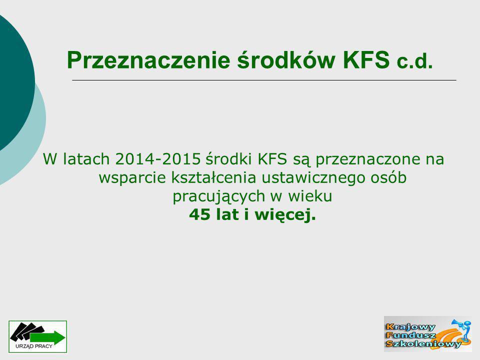 Przeznaczenie środków KFS c.d. W latach 2014-2015 środki KFS są przeznaczone na wsparcie kształcenia ustawicznego osób pracujących w wieku 45 lat i wi