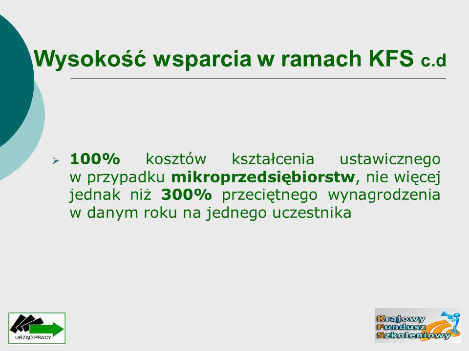 Wysokość wsparcia w ramach KFS c.d  100% kosztów kształcenia ustawicznego w przypadku mikroprzedsiębiorstw, nie więcej jednak niż 300% przeciętnego w