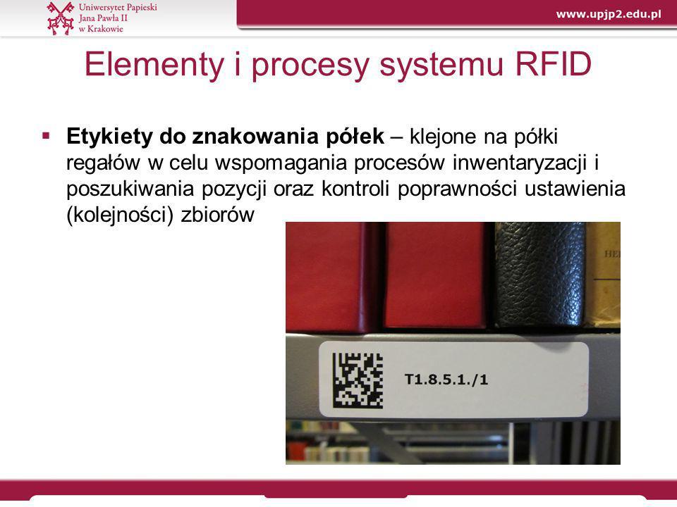 Elementy i procesy systemu RFID  Etykiety do znakowania półek – klejone na półki regałów w celu wspomagania procesów inwentaryzacji i poszukiwania po