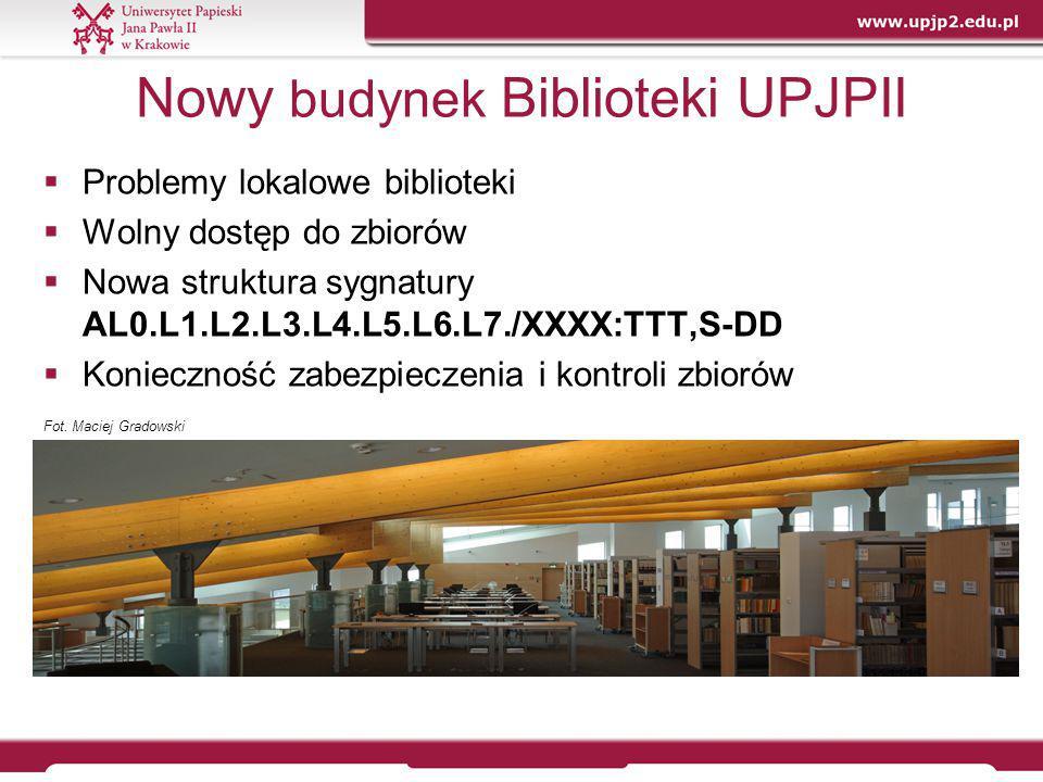 Nowy budynek Biblioteki UPJPII  Problemy lokalowe biblioteki  Wolny dostęp do zbiorów  Nowa struktura sygnatury AL0.L1.L2.L3.L4.L5.L6.L7./XXXX:TTT,