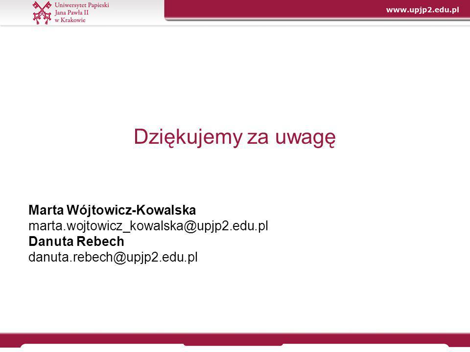 Dziękujemy za uwagę Marta Wójtowicz-Kowalska marta.wojtowicz_kowalska@upjp2.edu.pl Danuta Rebech danuta.rebech@upjp2.edu.pl