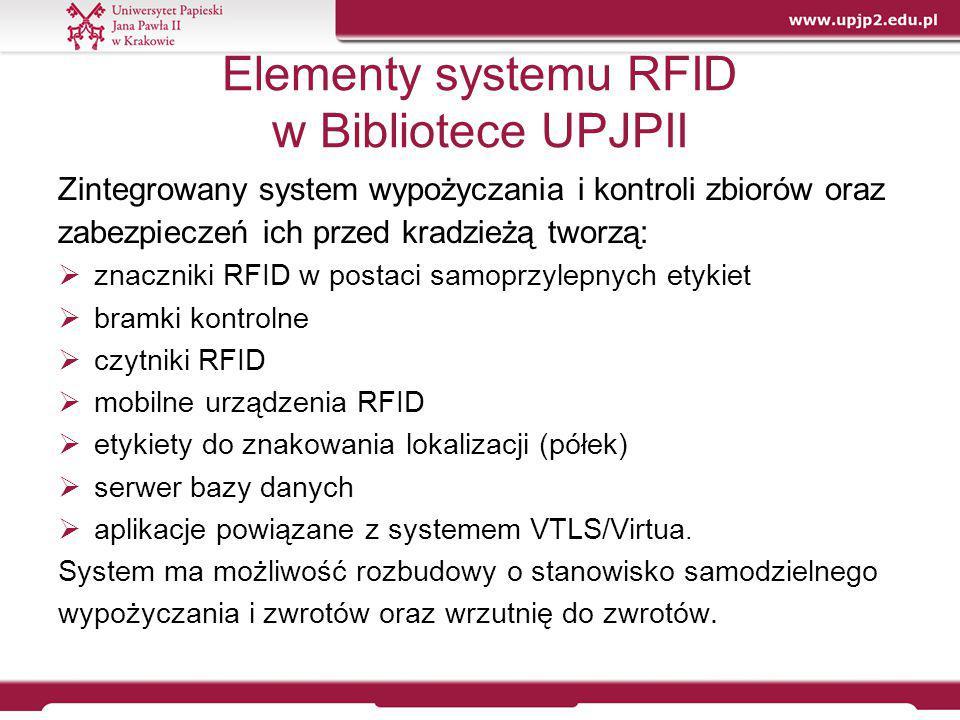 Elementy i procesy systemu RFID  Znaczniki RFID – podstawowe składniki systemu, które służą do identyfikacji zbiorów bibliotecznych; zawierają status i kod kreskowy dokumentu, jego sygnaturę/kod lokalizacji oraz początek tytułu