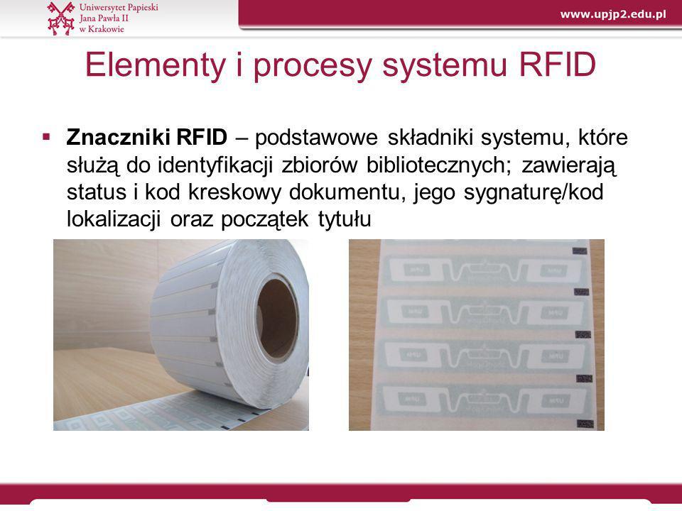 Elementy i procesy systemu RFID  Znaczniki RFID – podstawowe składniki systemu, które służą do identyfikacji zbiorów bibliotecznych; zawierają status