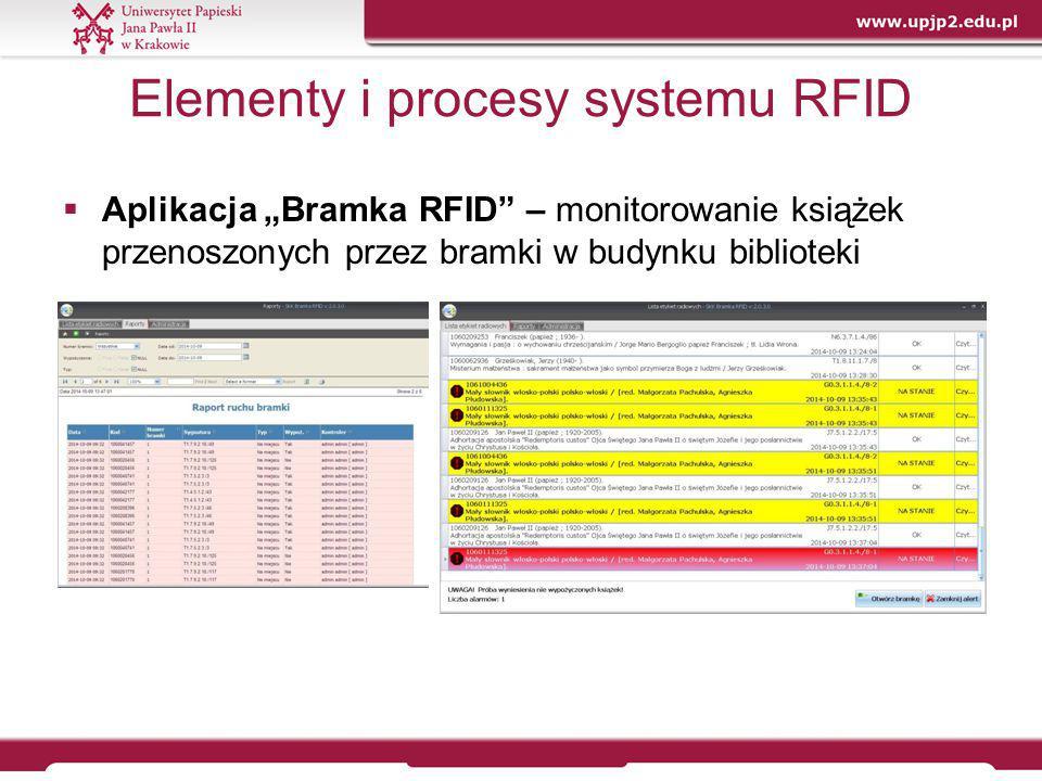 """Zalety i wady rozwiązania Zalety:  możliwość identyfikacji zbiorów (na etykiecie zapisana sygnatura, barkod, tytuł, status);  zabezpieczenie księgozbioru (włączenie alarmu w przypadku próby przekroczenia bramki z książką o statusie """"niewypożyczona wraz z jej identyfikacją);  usprawnienie procesu wypożyczeń i zwrotów wielu egzemplarzy książek jednocześnie (bez konieczności sekwencyjnego odczytywania kodów kreskowych);  przeprowadzenie inwentaryzacji/skontrum za pomocą mobilnego czytnika, bez konieczności wyjmowania rejestrowanych książek z półek (przyspieszenie prac inwentaryzacyjnych to minimalizacja niewygody, jaką dla czytelników jest ograniczenie dostępu do części księgozbioru na czas prac inwentaryzacyjnych);"""