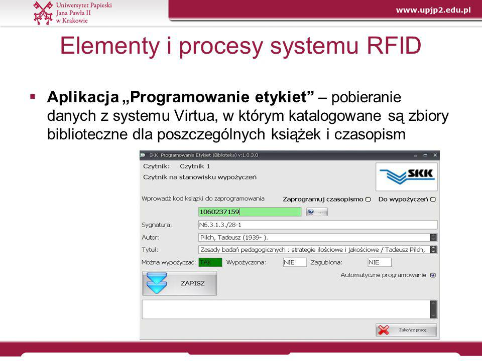 Mobilne urządzenie RFID – kontrola i zarządzanie zbiorami  Kontrola poprawności ułożenia zbiorów – etapy postępowania:  możliwość ustalenia tolerancji przesunięcie ze względu na siłę odczytu etykiet;  pobranie danych z bazy systemu bibliotecznego Virtua, w którym są katalogowane zbiory;  podanie zakresu, (dwa pierwsze człony sygnatury i lokalizacja);  sczytanie kodu kreskowego 2D z półki (określający początek zbioru) i opcjonalnie drugi kod półki (określający koniec zbioru);  przesuwanie czytnika wzdłuż rzędu książek ustawionych na półce w trybie ciągłym, poprzez przyciśnięcie i trzymanie przycisku wyzwalania.