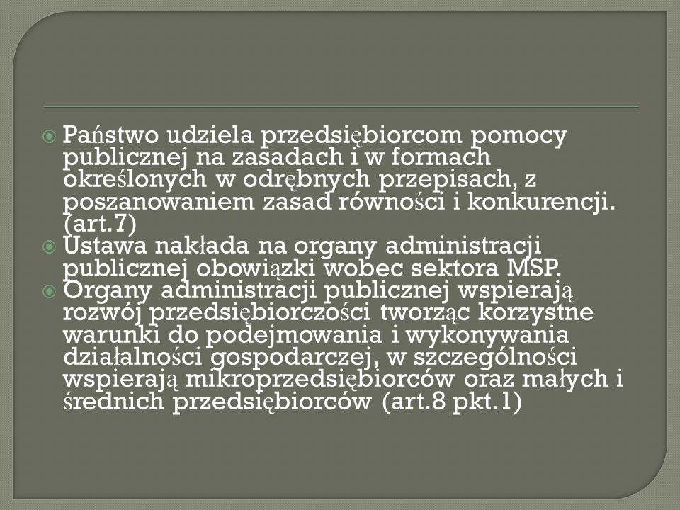  Pa ń stwo udziela przedsi ę biorcom pomocy publicznej na zasadach i w formach okre ś lonych w odr ę bnych przepisach, z poszanowaniem zasad równo ś ci i konkurencji.