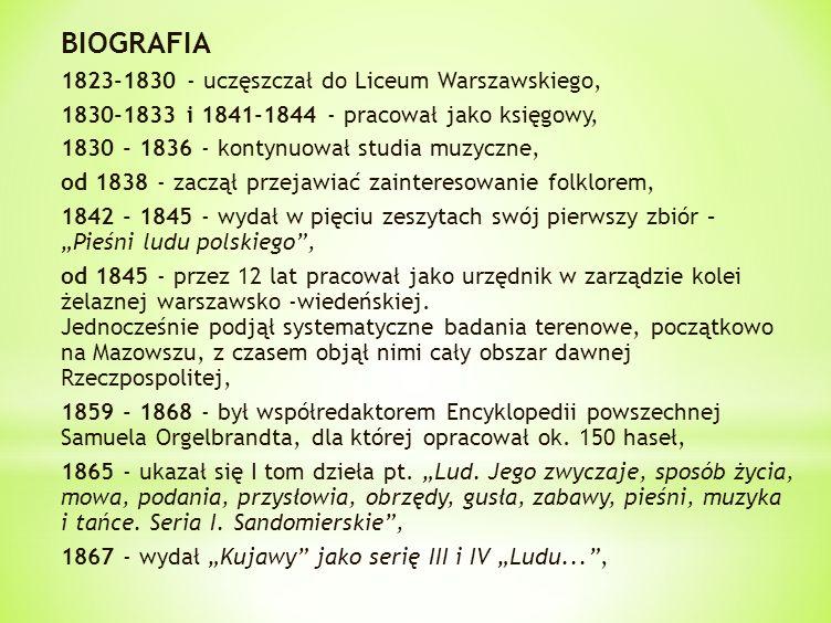 BIOGRAFIA 1823-1830 - uczęszczał do Liceum Warszawskiego, 1830-1833 i 1841-1844 - pracował jako księgowy, 1830 - 1836 - kontynuował studia muzyczne, o