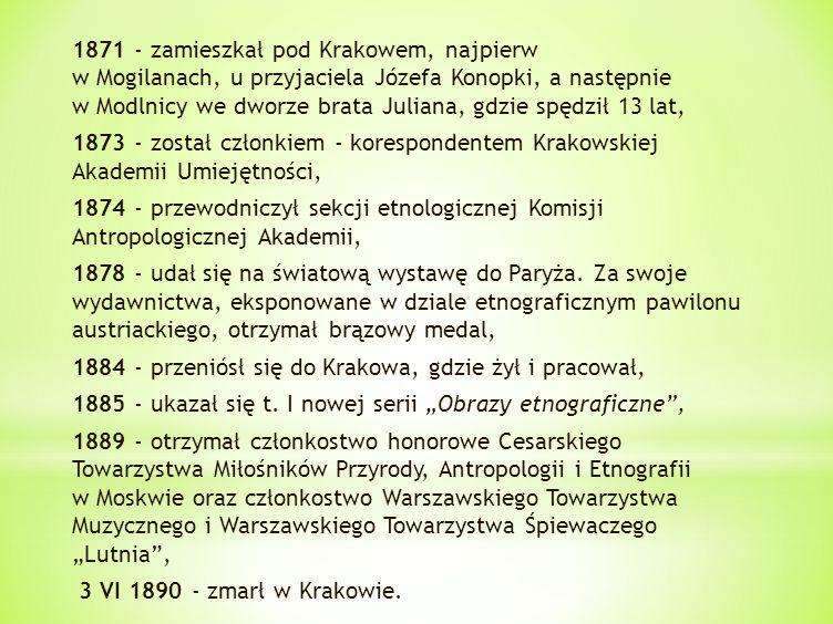 1871 - zamieszkał pod Krakowem, najpierw w Mogilanach, u przyjaciela Józefa Konopki, a następnie w Modlnicy we dworze brata Juliana, gdzie spędził 13