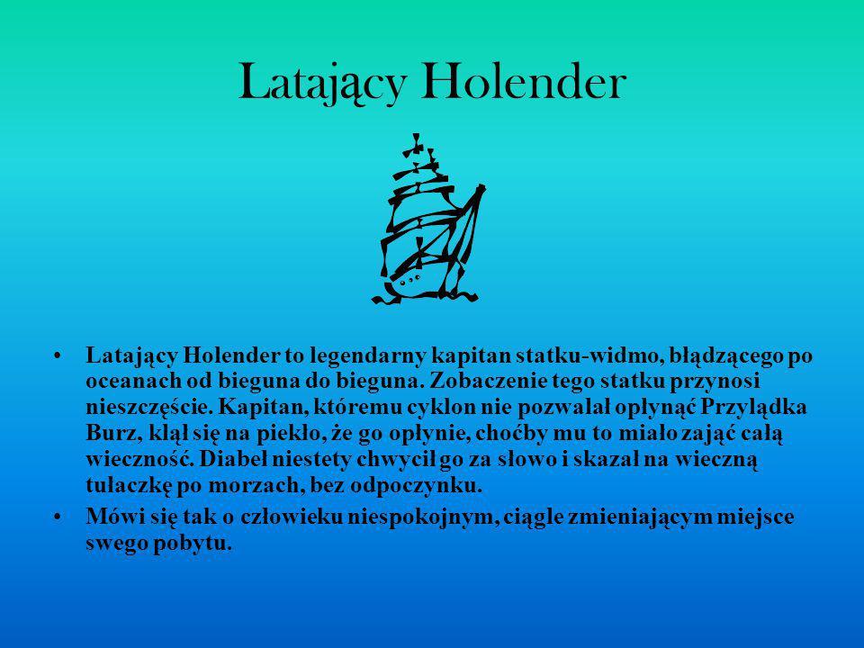 Lataj ą cy Holender Latający Holender to legendarny kapitan statku-widmo, błądzącego po oceanach od bieguna do bieguna. Zobaczenie tego statku przynos