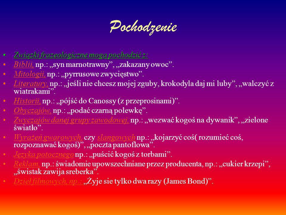 """Pochodzenie Związki frazeologiczne mogą pochodzić z:Związki frazeologiczne mogą pochodzić z: Biblii, np.: """"syn marnotrawny"""", """"zakazany owoc"""". Mitologi"""