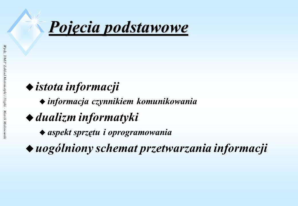 Wydz. BMiP Zakład Matematyki i Fizyki - Marek Malinowski Pojęcia podstawowe - określenie informatyki Informatyka to dziedzina wiedzy o metodach  pobi