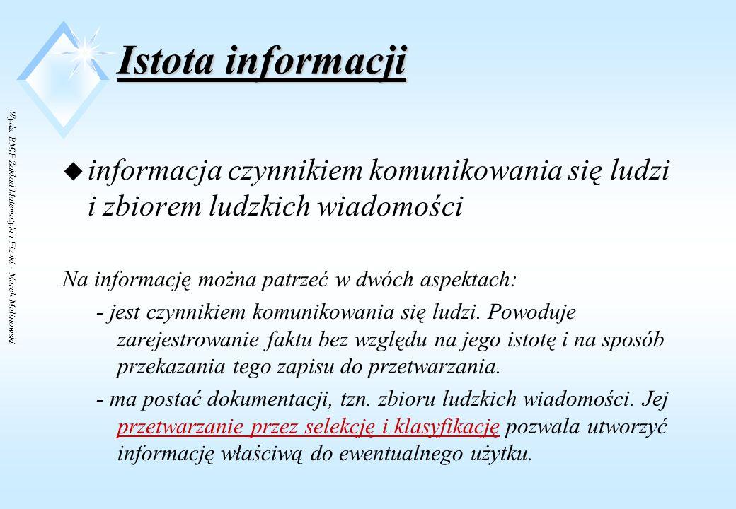 Wydz. BMiP Zakład Matematyki i Fizyki - Marek Malinowski Pojęcia podstawowe u istota informacji u informacja czynnikiem komunikowania u dualizm inform