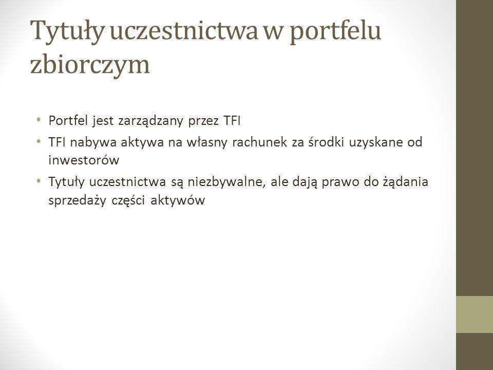 Tytuły uczestnictwa w portfelu zbiorczym Portfel jest zarządzany przez TFI TFI nabywa aktywa na własny rachunek za środki uzyskane od inwestorów Tytuł