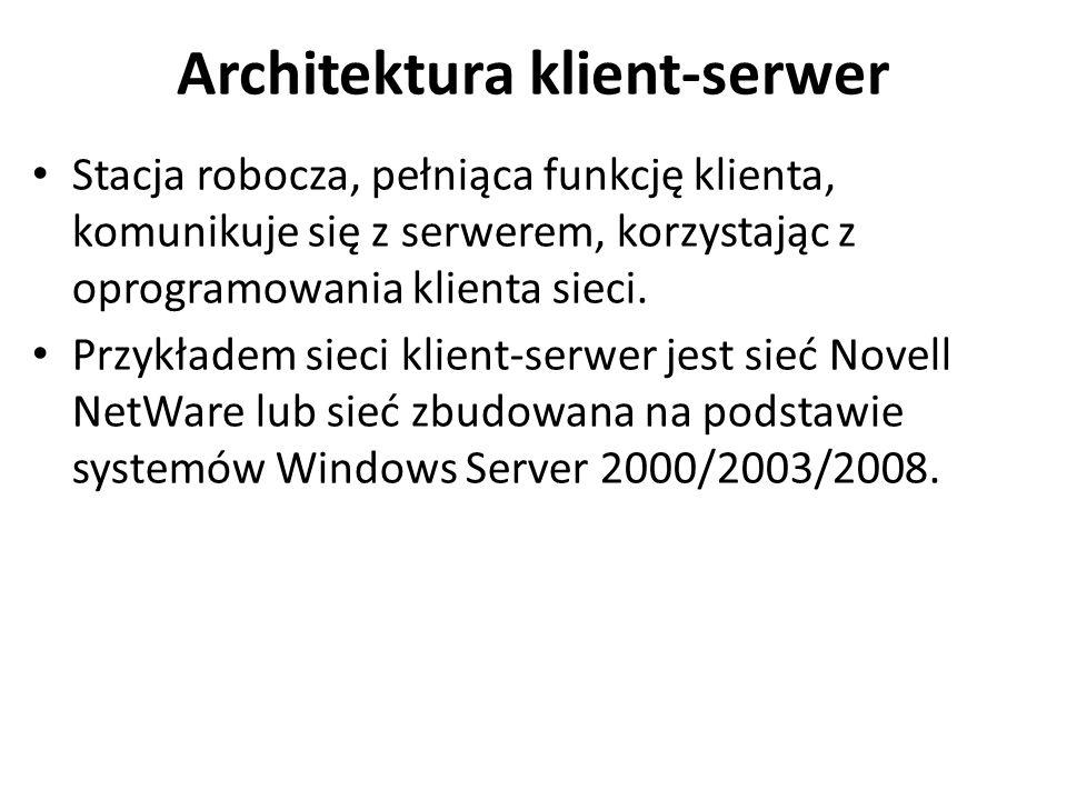 Architektura klient-serwer Stacja robocza, pełniąca funkcję klienta, komunikuje się z serwerem, korzystając z oprogramowania klienta sieci. Przykładem