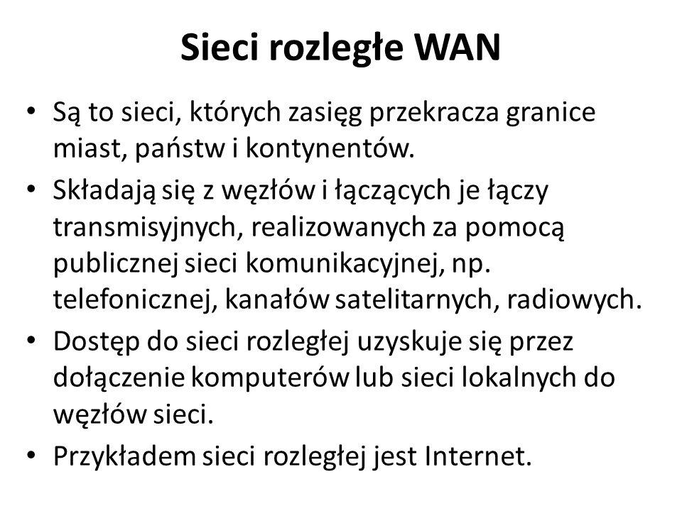 Sieci rozległe WAN Są to sieci, których zasięg przekracza granice miast, państw i kontynentów. Składają się z węzłów i łączących je łączy transmisyjny