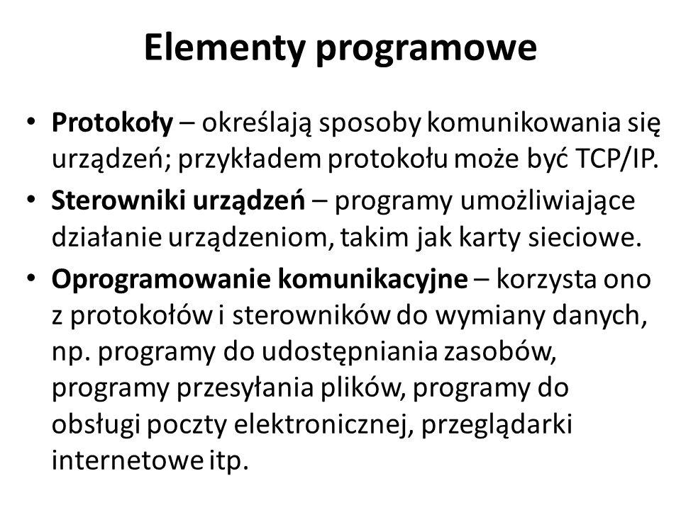 Elementy programowe Protokoły – określają sposoby komunikowania się urządzeń; przykładem protokołu może być TCP/IP. Sterowniki urządzeń – programy umo