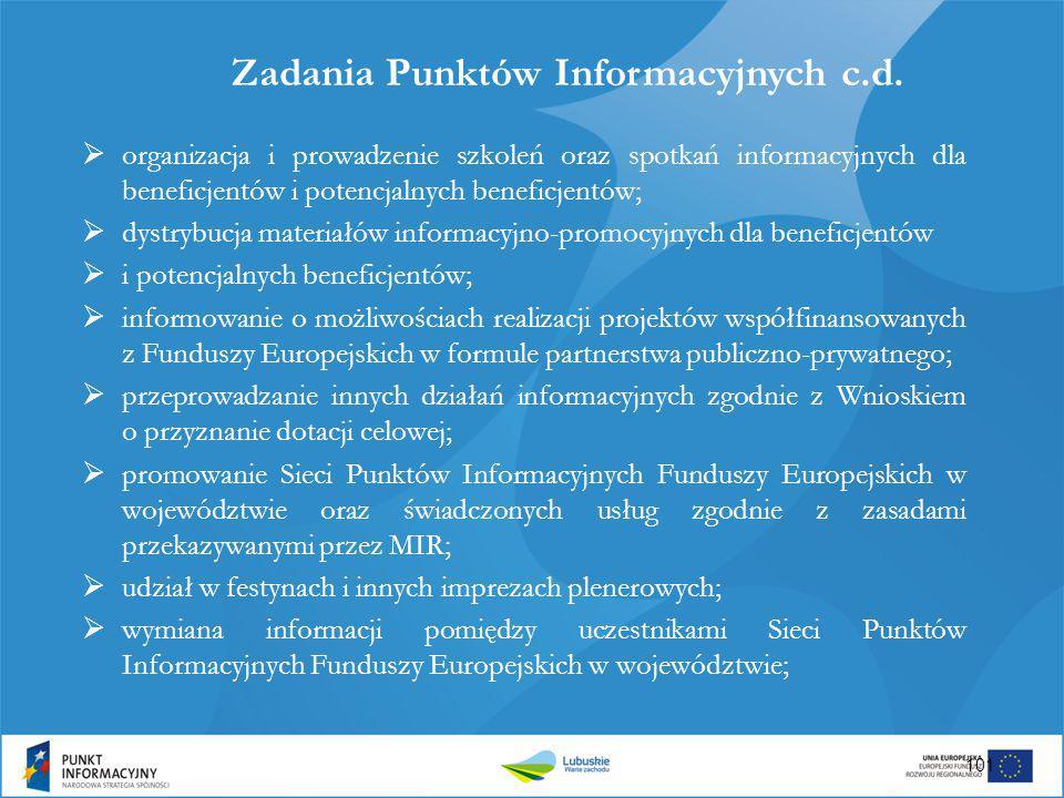 Zadania Punktów Informacyjnych c.d.  organizacja i prowadzenie szkoleń oraz spotkań informacyjnych dla beneficjentów i potencjalnych beneficjentów; 