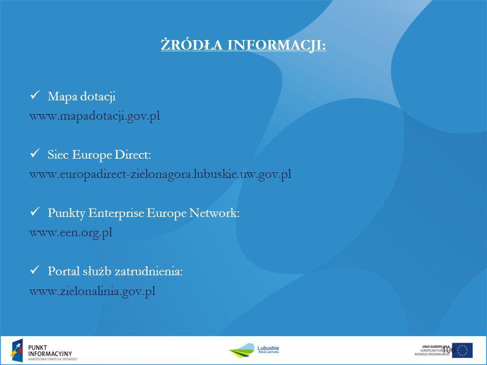 ŻRÓDŁA INFORMACJI: Mapa dotacji www.mapadotacji.gov.pl Siec Europe Direct: www.europadirect-zielonagora.lubuskie.uw.gov.pl Punkty Enterprise Europe Ne