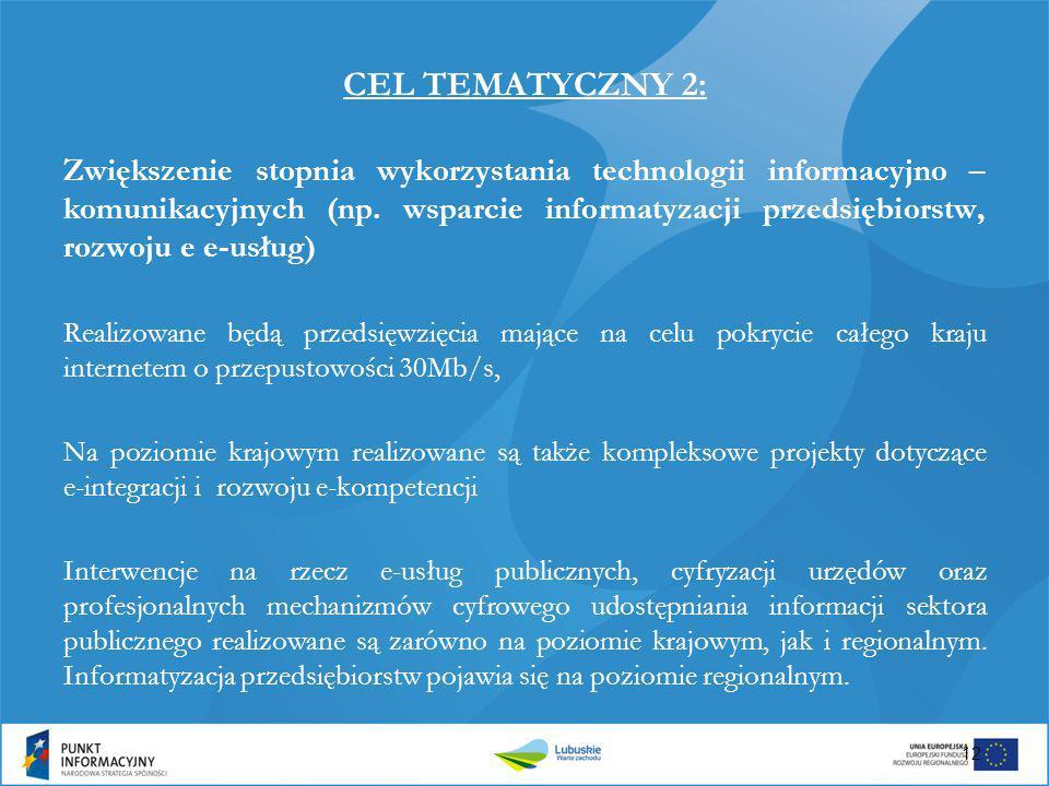 CEL TEMATYCZNY 2: Zwiększenie stopnia wykorzystania technologii informacyjno – komunikacyjnych (np. wsparcie informatyzacji przedsiębiorstw, rozwoju e
