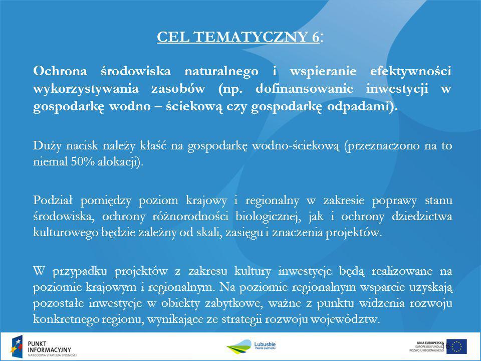 CEL TEMATYCZNY 6 : Ochrona środowiska naturalnego i wspieranie efektywności wykorzystywania zasobów (np. dofinansowanie inwestycji w gospodarkę wodno