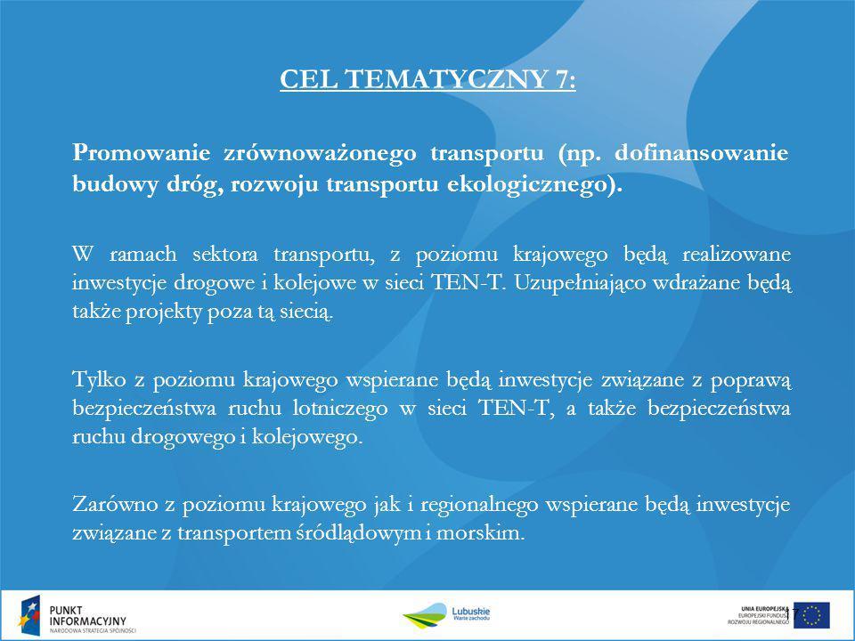 CEL TEMATYCZNY 7: Promowanie zrównoważonego transportu (np. dofinansowanie budowy dróg, rozwoju transportu ekologicznego). W ramach sektora transportu