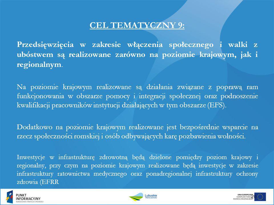 CEL TEMATYCZNY 9: Przedsięwzięcia w zakresie włączenia społecznego i walki z ubóstwem są realizowane zarówno na poziomie krajowym, jak i regionalnym.