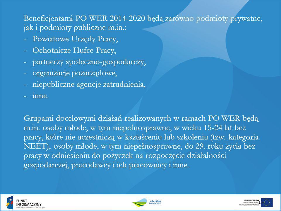 Beneficjentami PO WER 2014-2020 będą zarówno podmioty prywatne, jak i podmioty publiczne m.in.: - Powiatowe Urzędy Pracy, -Ochotnicze Hufce Pracy, -pa