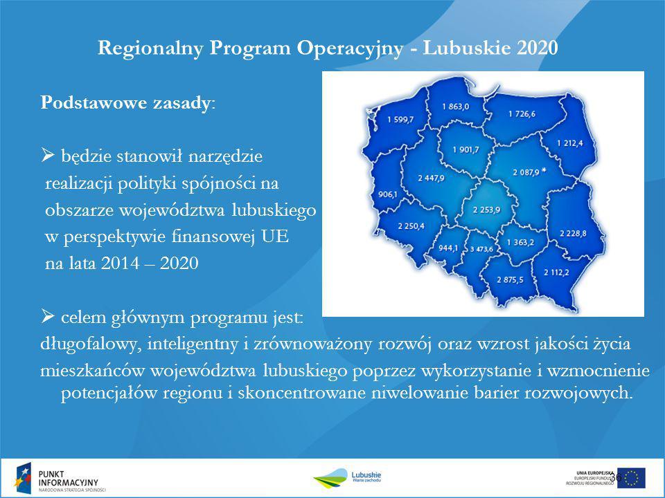 Regionalny Program Operacyjny - Lubuskie 2020 Podstawowe zasady:  będzie stanowił narzędzie realizacji polityki spójności na obszarze województwa lub