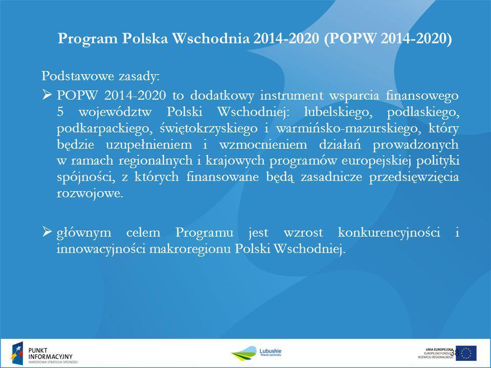 Program Polska Wschodnia 2014-2020 (POPW 2014-2020) Podstawowe zasady:  POPW 2014-2020 to dodatkowy instrument wsparcia finansowego 5 województw Pols