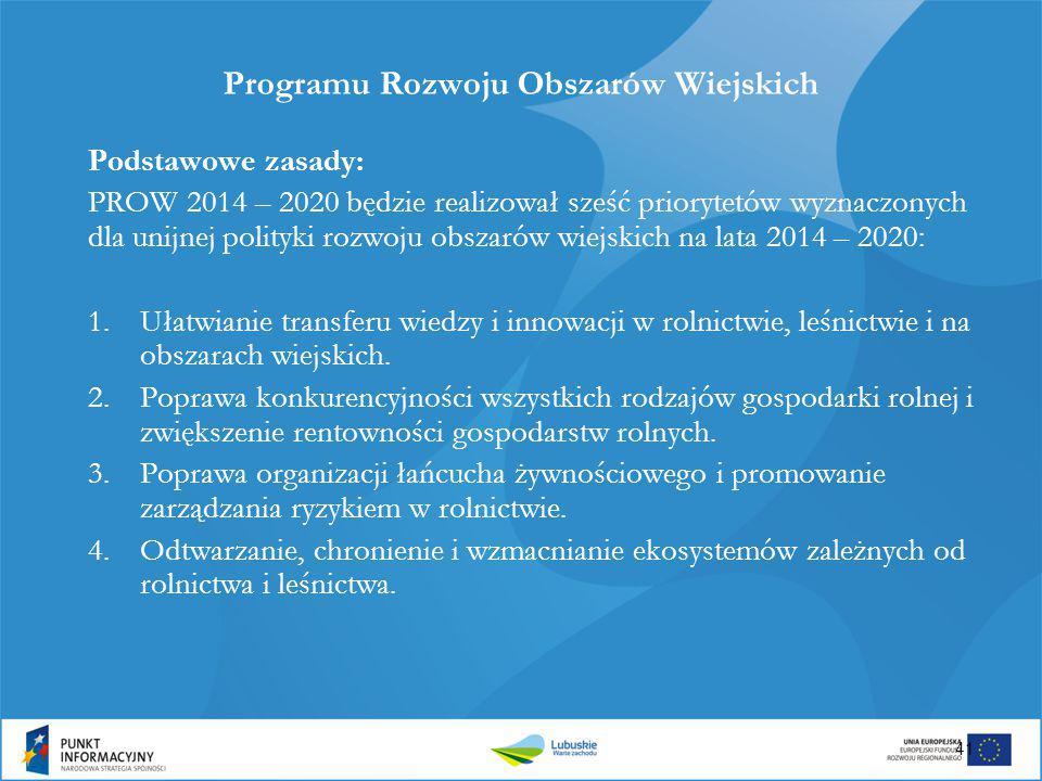 41 Programu Rozwoju Obszarów Wiejskich Podstawowe zasady: PROW 2014 – 2020 będzie realizował sześć priorytetów wyznaczonych dla unijnej polityki rozwo