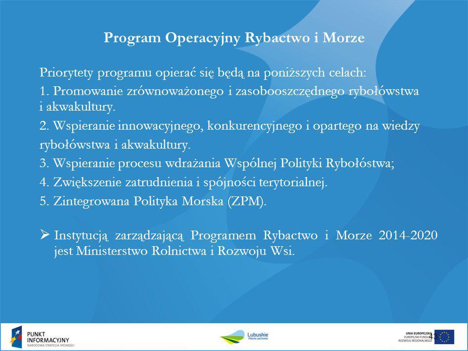 43 Program Operacyjny Rybactwo i Morze Priorytety programu opierać się będą na poniższych celach: 1. Promowanie zrównoważonego i zasobooszczędnego ryb
