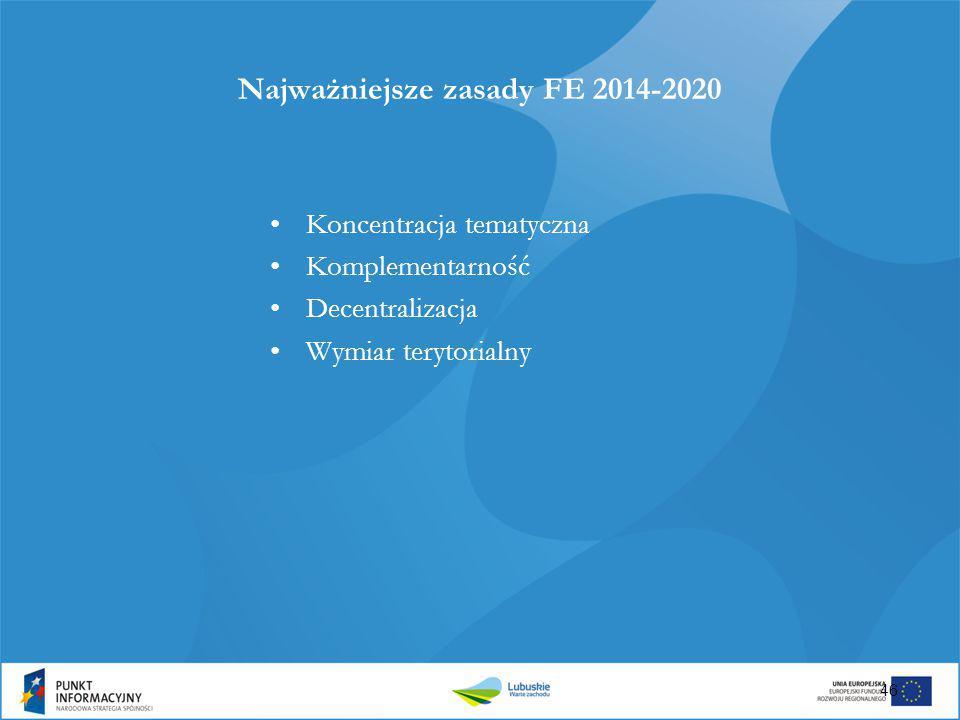 Najważniejsze zasady FE 2014-2020 Koncentracja tematyczna Komplementarność Decentralizacja Wymiar terytorialny 46