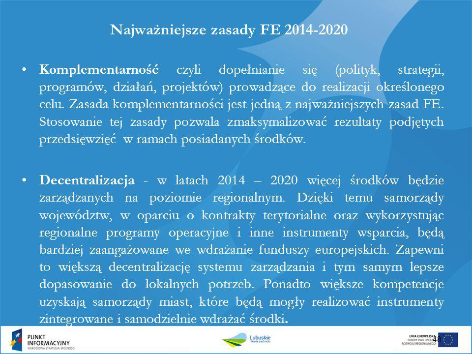 Najważniejsze zasady FE 2014-2020 Komplementarność czyli dopełnianie się (polityk, strategii, programów, działań, projektów) prowadzące do realizacji