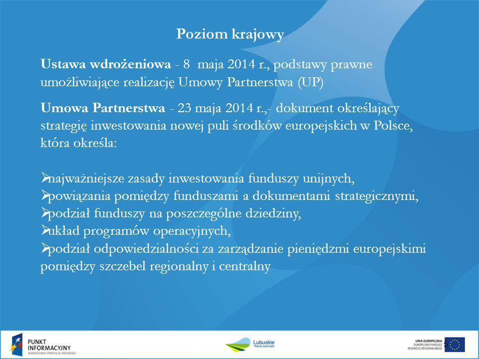 Umowa Partnerstwa - 23 maja 2014 r.,- dokument określający strategię inwestowania nowej puli środków europejskich w Polsce, która określa:  najważnie